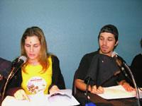 Andreia Buzato e Igor Lima na oficina de dublagem